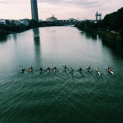 kayaking down the Guadalquivir River
